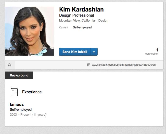 Kim Kardashian LinkedIn Page