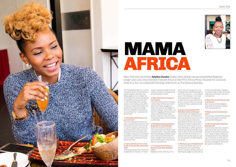 Yemi Alade Talks All Things Food to Kenya's Yummy Magazine