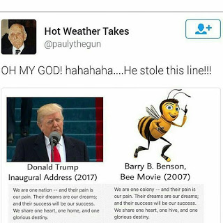 """President Donald Trump Under-Fire for Stolen Lines From 2007 """" Bee Movie """" for His Inaugural Address Speech"""