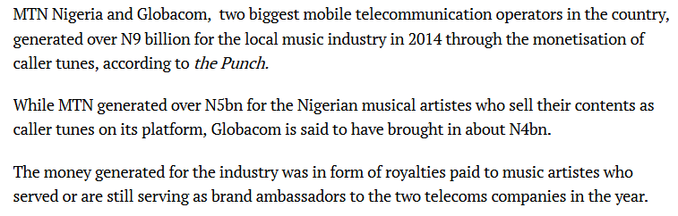 Role of Telcos in Nigeria Music