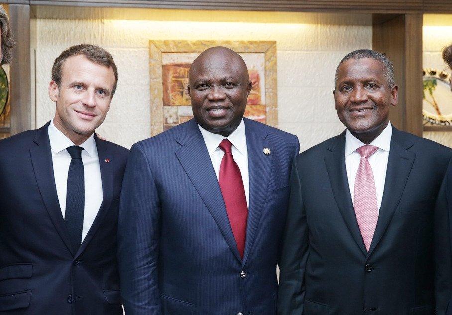 Emmanuel Macron, Akinwumi Ambode and Aliko Dangote