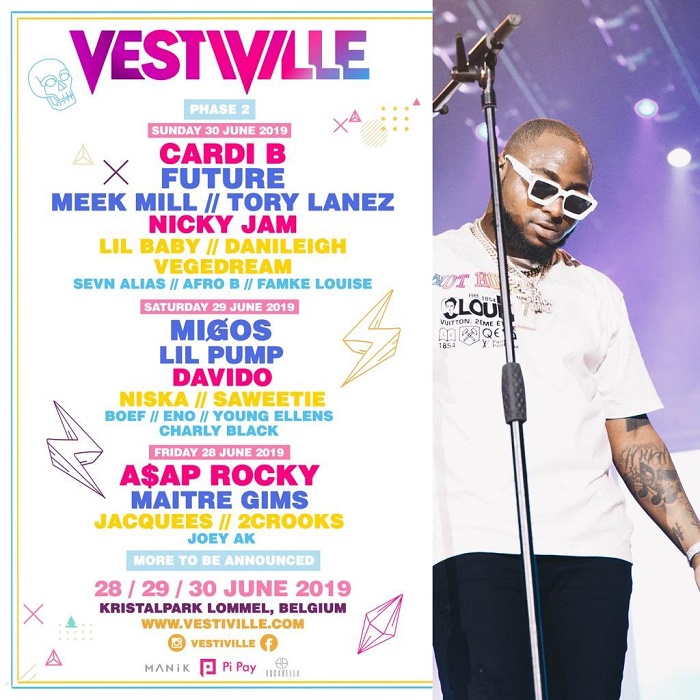 Davido to Perform 2019 VestiVille in Belgium