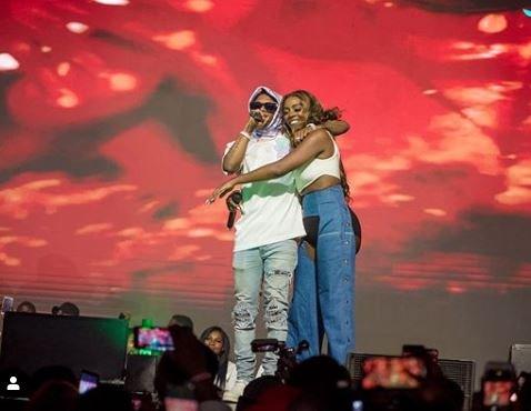 Wizkid and Tiwa Savage Romance On Stage