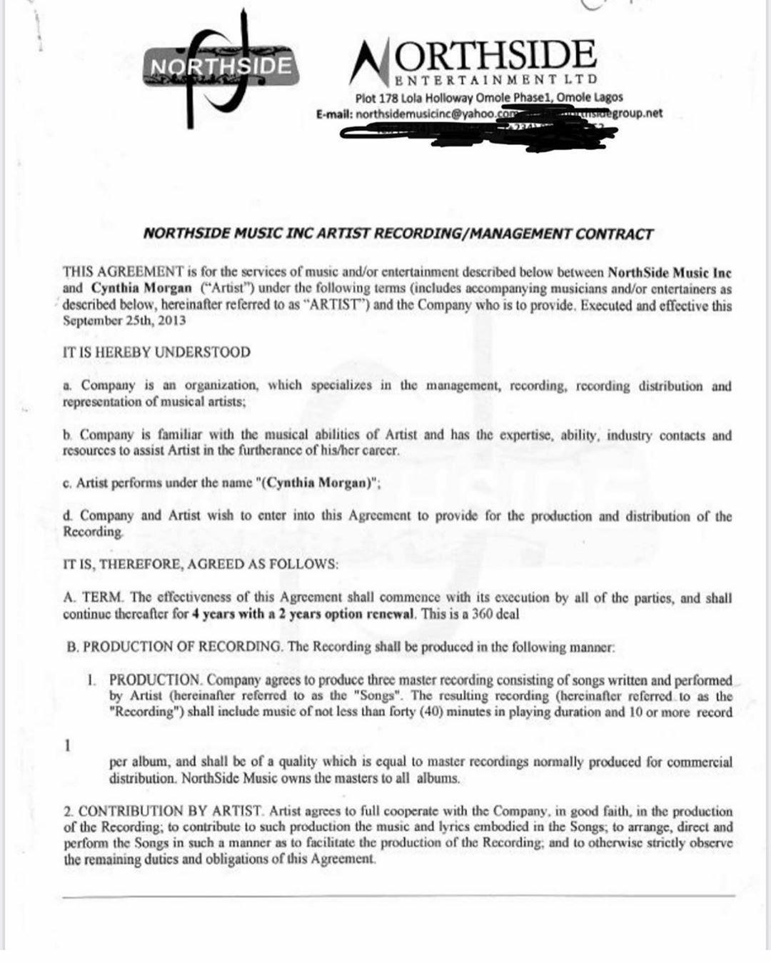 Cynthia Morgan Contract