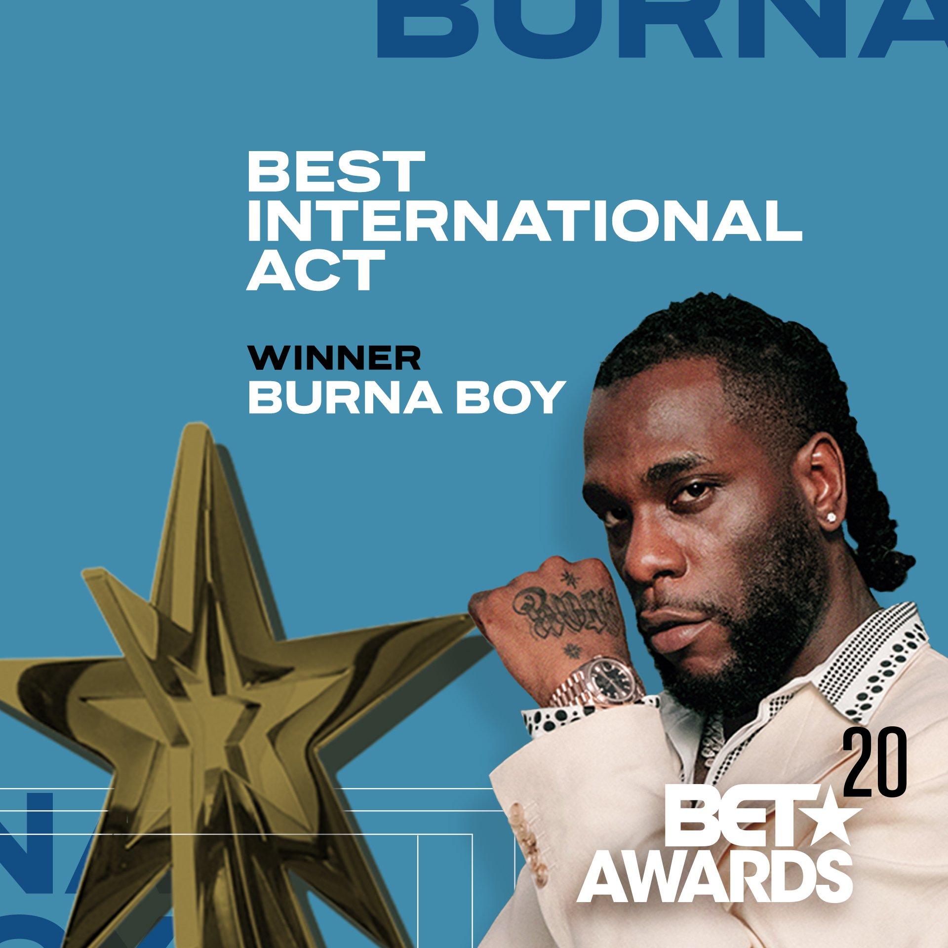 Burna Boy Wins BET Awards 2020 for Best International Act