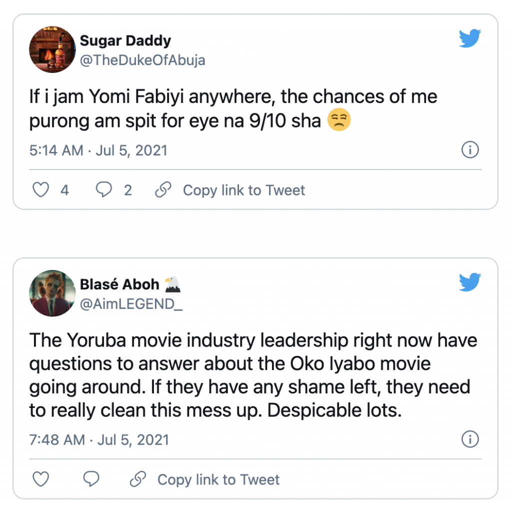 "Nigerians blast Yomi Fabiyi after releasing his new movie ""Oko Iyabo"" 01"
